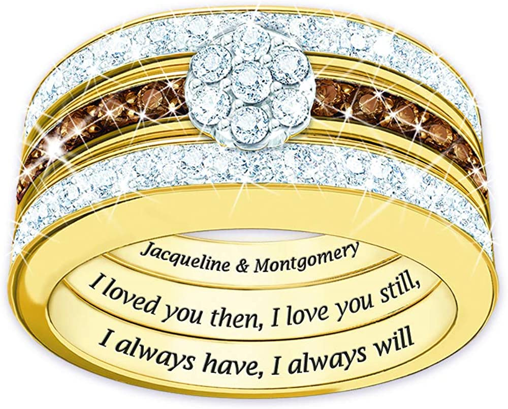 Amazon Com The Danbury Mint I Love You Always Personalized Mocha Diamond Ring Set 4792 007 Jewelry