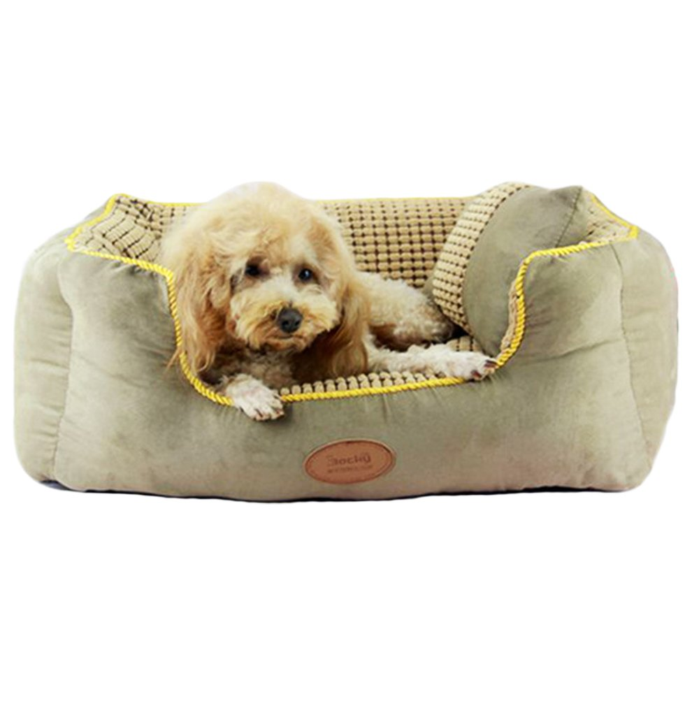 Quno Pet Washable Breathable Oversized Healthy Padded Moisture-Proof Bolster Bed Dog Cushion Cat Mattress Light Khaki XL
