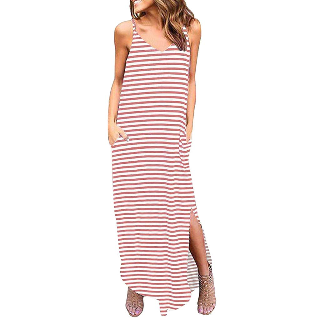 IEasⓄn Striped Sleeveless Strappy Cami Maxi Long Dress V Neck with Pockets Casual Beach Skirt Cover Up Slits for Summer Pink