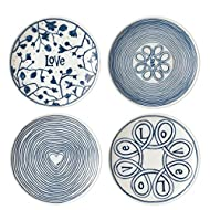 ED Ellen Degeneres Blue Love 6 Inch Plates Mixed, Set of 4