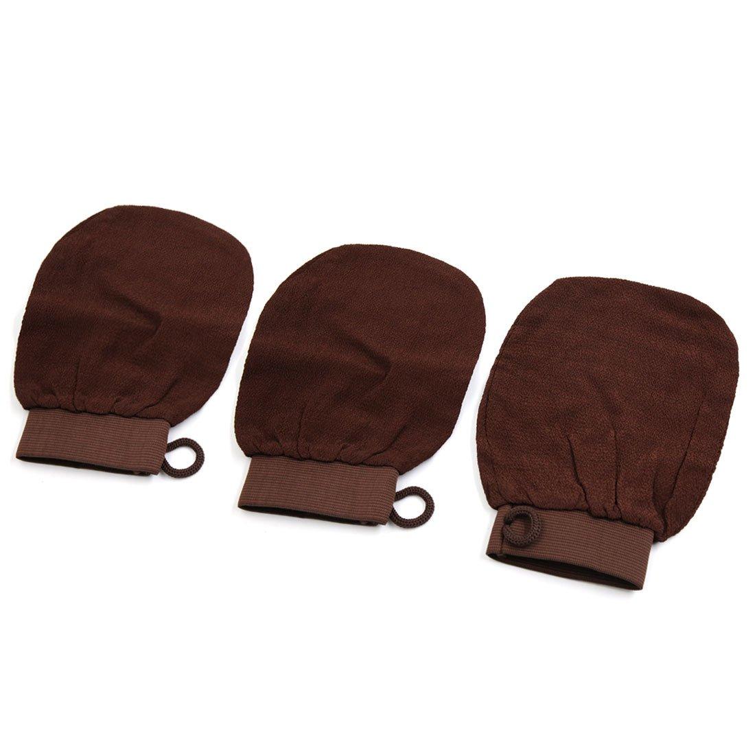 uxcell3pcs Bath Shower Sauna Dead Hard Skin Care Exfoliator Exfoliating Massage Mitt Back Scrubber Glove a17032900ux1122