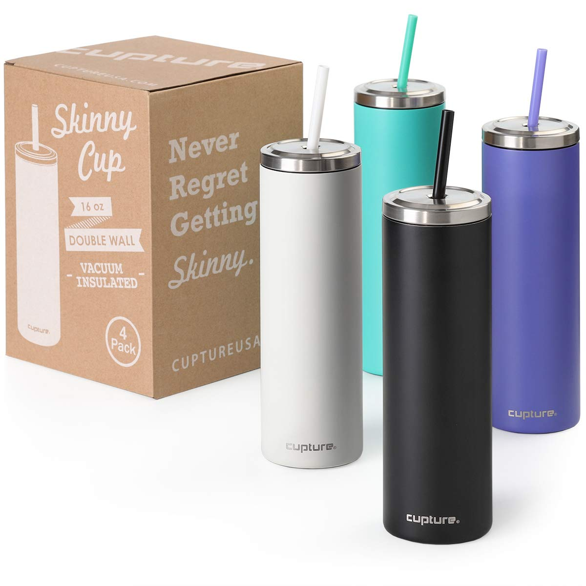 Cupture Stainless Steel Skinny Insulated Tumbler Cup with Lid and Reusable Straw - 16 oz (Assorted Colors)