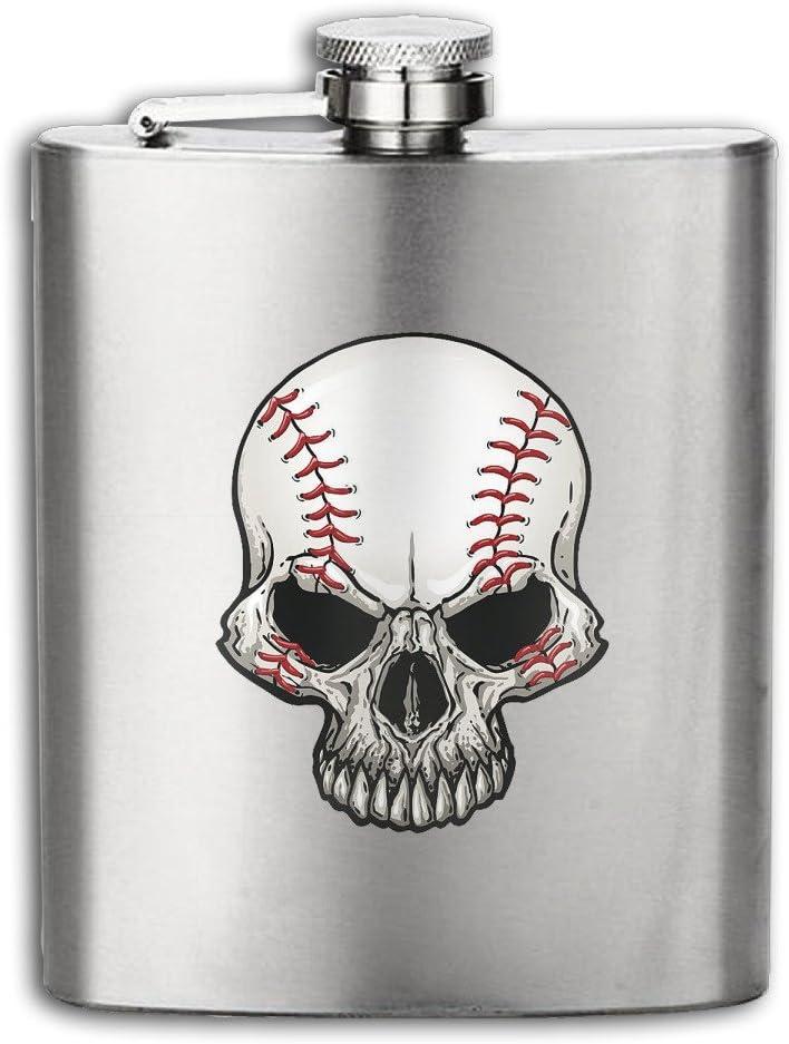 Baseball Tête de mort en acier inoxydable 304Flasque Pot de vin Bouteille de whisky pour tourisme, camping 7oz cendre