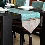 Table Runners Pure color table table flag stripe fabric decorative coffee table flag-A 32x200cm(13x79inch)
