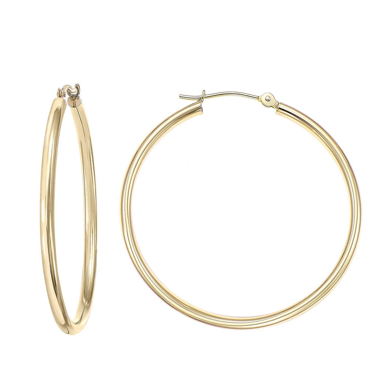 14k Gold Classic Hoop Earrings, 2'' Diameter (yellow-gold) by Tilo Jewelry