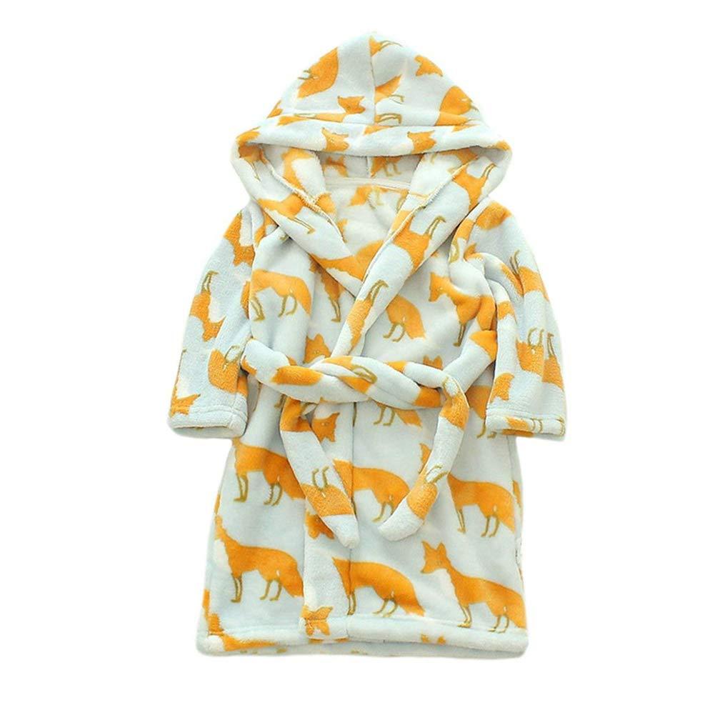Kimjun Unisex Toddler Baby Bathrobe Kids Hooded Robes Soft Flannel Sleepwear 2-8t ETYP-16