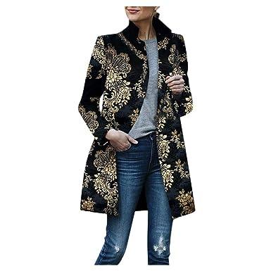 Amazon.com: Mlide Womens Long Vintage Jacket Fashion Print ...