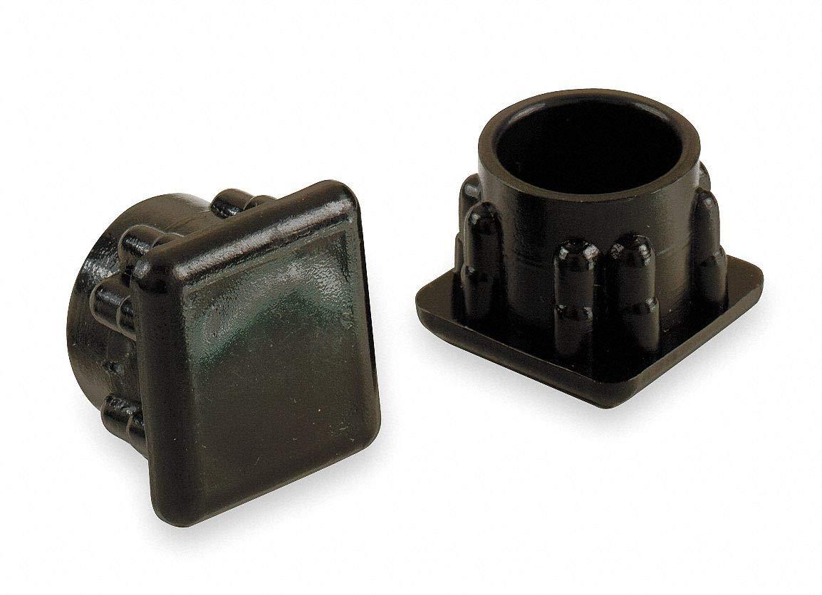 Round Slip-On Furniture Protective Leg Tips, Black Plastic, 7/8' Leg Outside Dia, 24PK - Pack of 5 by GRAINGER APPROVED (Image #1)