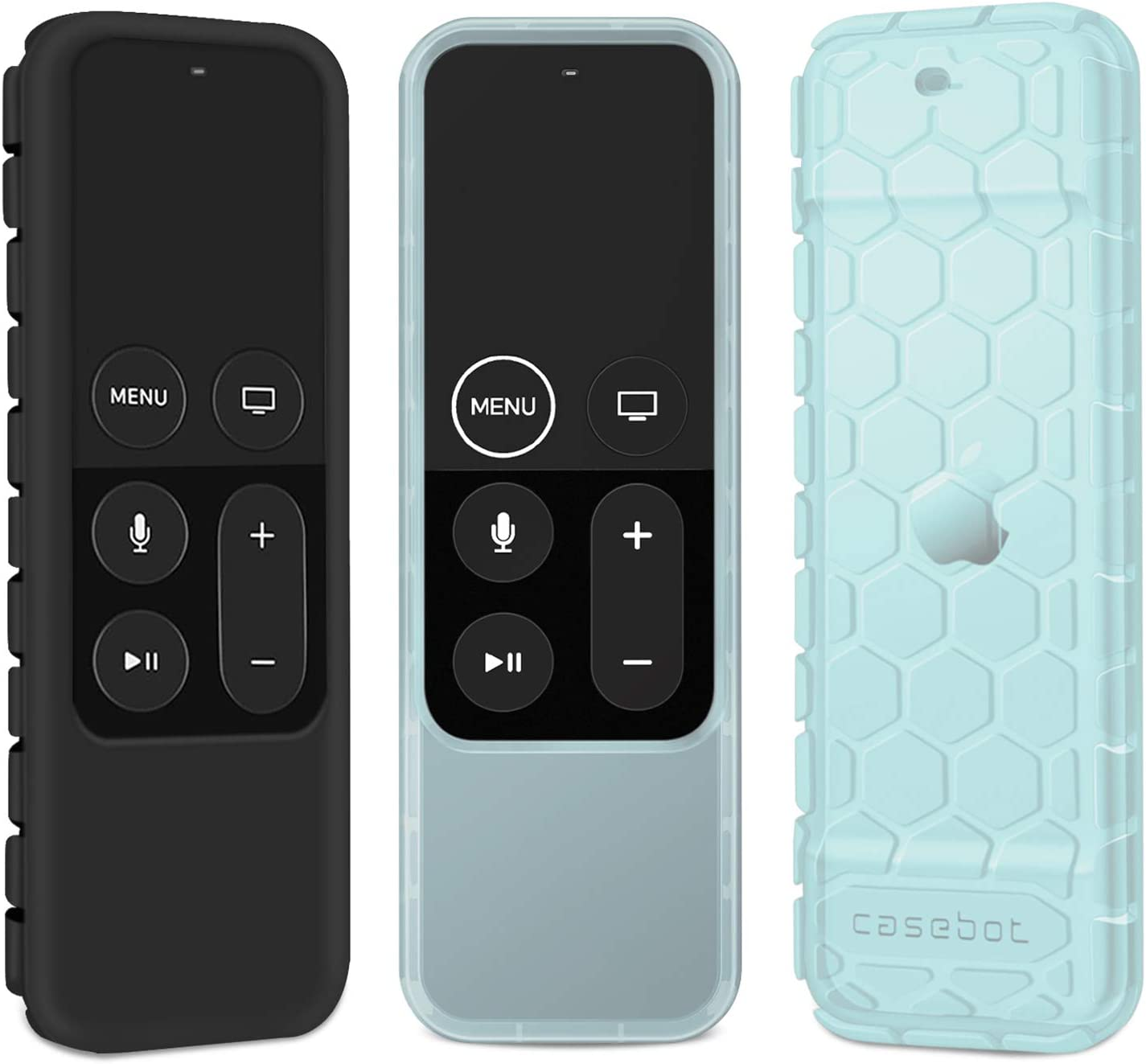 [2 Pack] Fintie Protective Case for Apple TV 4K 5th, 4th Gen Remote - Casebot (Honey Comb Series) Anti Slip Shockproof Silicone Cover for Apple TV Siri Remote Controller (Black + Blue Glow)