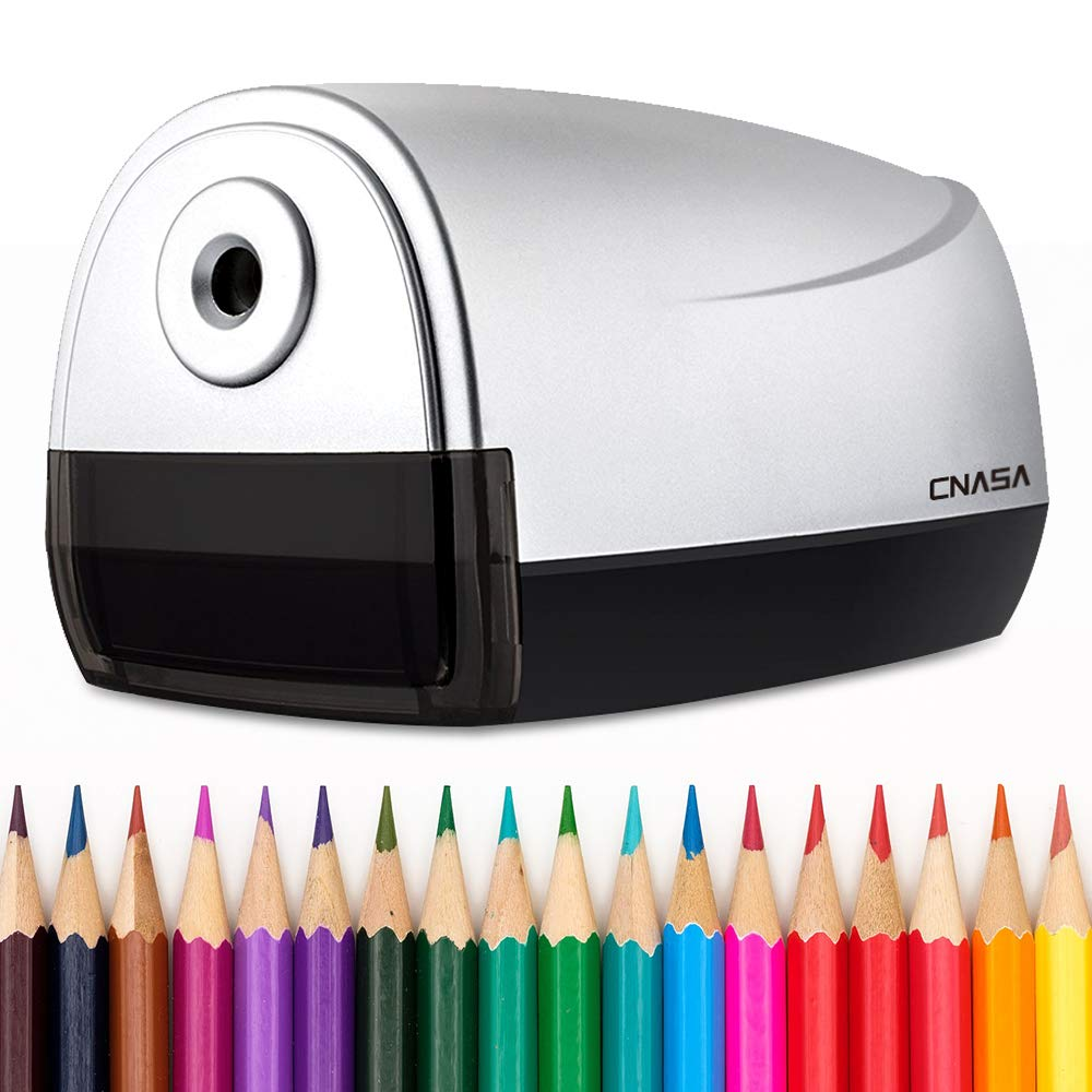 Electric Pencil Sharpener,Auto Stop Detect I/O Sharpening,Deluxe Helical Blade Super Heavy Duty Fast Desktop, No.2/Colored Pencils,USB/Battery Operated High Volume Commercial&Industrial Office Studio by CNASA