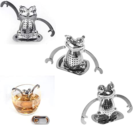 3 Inch Stainless Steel Frog Shaped Loose Leaf Tea Infuser with Drip Tray