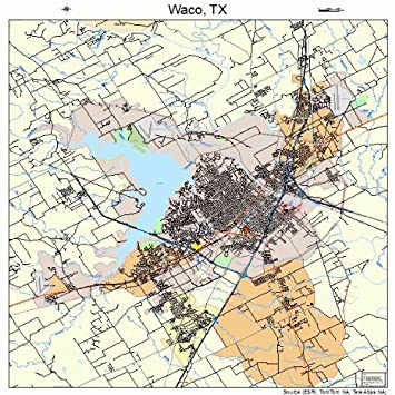 Large Street Road Map Of Waco Texas Tx Printed Poster Size Wall
