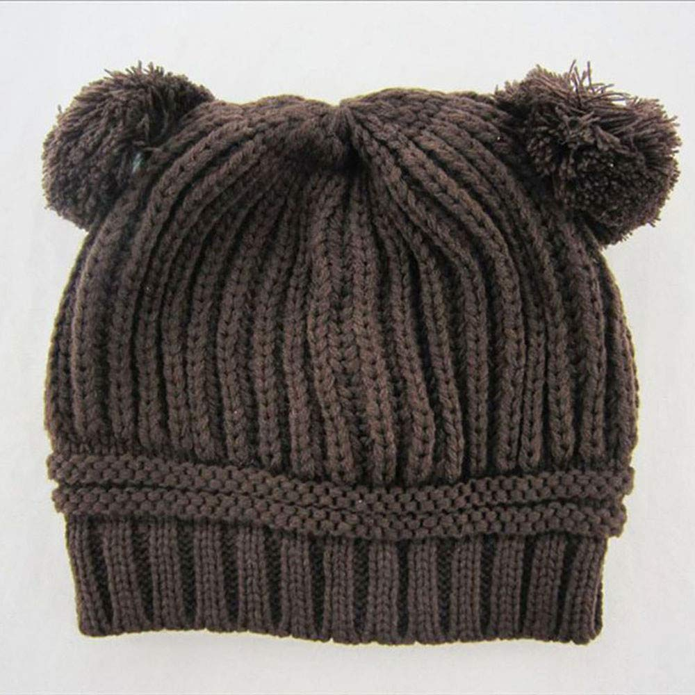 Dream/_mimi Unisex Baby Winter Keep Warm Solid Color Double Ball Knitted Hat