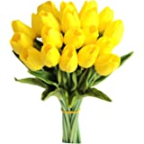 Mandy's 20pcs Yellow Artificial Latex Tulips for Party Home Wedding Decoration