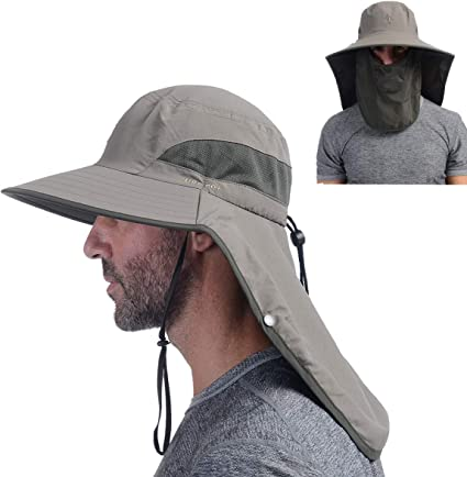 Outdoor Sun Protection Hats for Men /& Women with Wide Brim Fishing Hat Hiking Breathable Mesh Panels for Camping GearTOP Bucket Hat Face Mask Removable Neck Flaps Boonie Hat