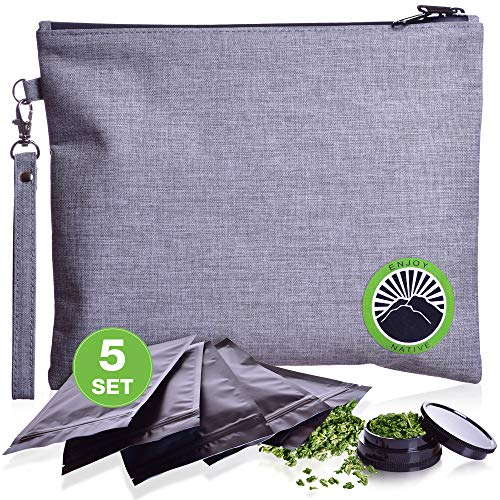 Smell Proof Bag - Odor Proof Bag - Dog Tested Bags 11x9 - Spice Grinder - Best Odor Proof Pouch Zipper on top Smell Proof Case for Herbs Coffee Tea Oils 5 Sealed Baggies - Smell Proof Container (Best Smell Proof Bag For Weed)