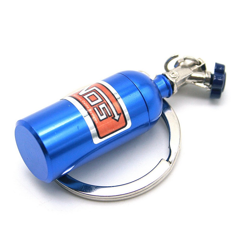 Waterwood Creative Auto Parts Models Mini Nitrous Oxide Bottle Keychain Key Chain Ring-Blue ESWW20160418A234