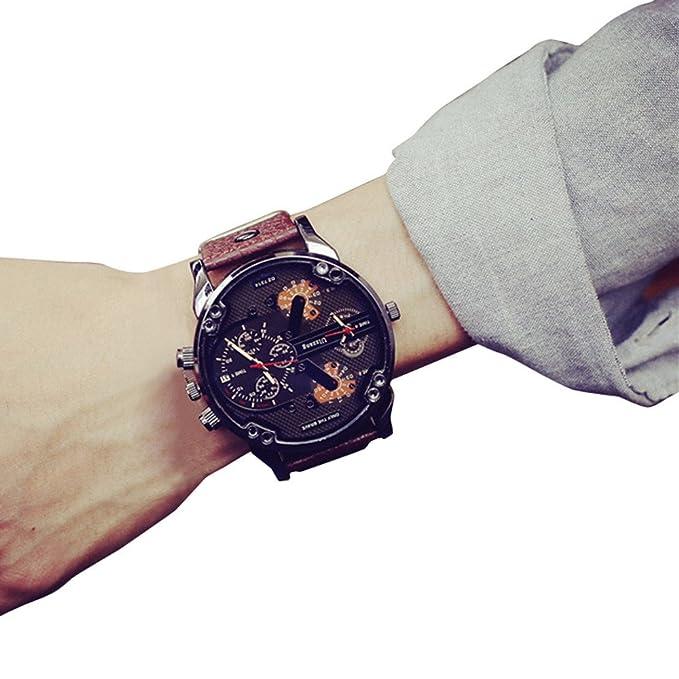 SamMoSon Relojes Hombre Deportivos Elegantes Digital Inteligente De Agua, Reloj De Pulsera De Cuarzo Analógico para Hombres Reloj De Lujo con Banda De Cuero: ...