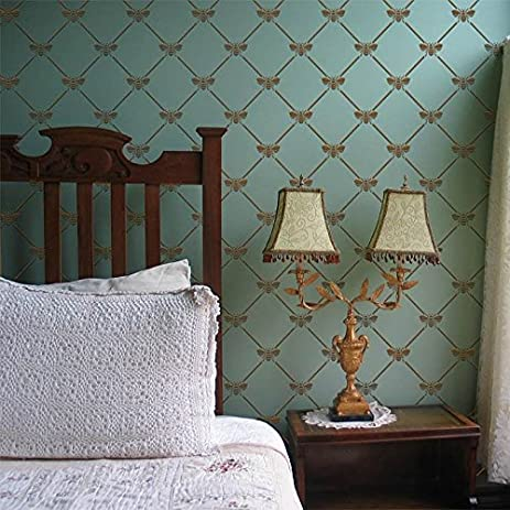 French Bee Trellis Wall Stencil For DIY Painting