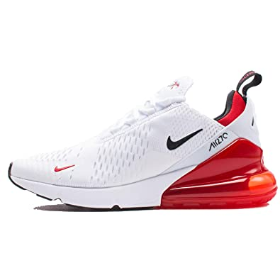cheap for discount 54db9 9bec4 Nike Air Max 270 - Men s White Black University Red Nylon Basketball Shoes  8.5