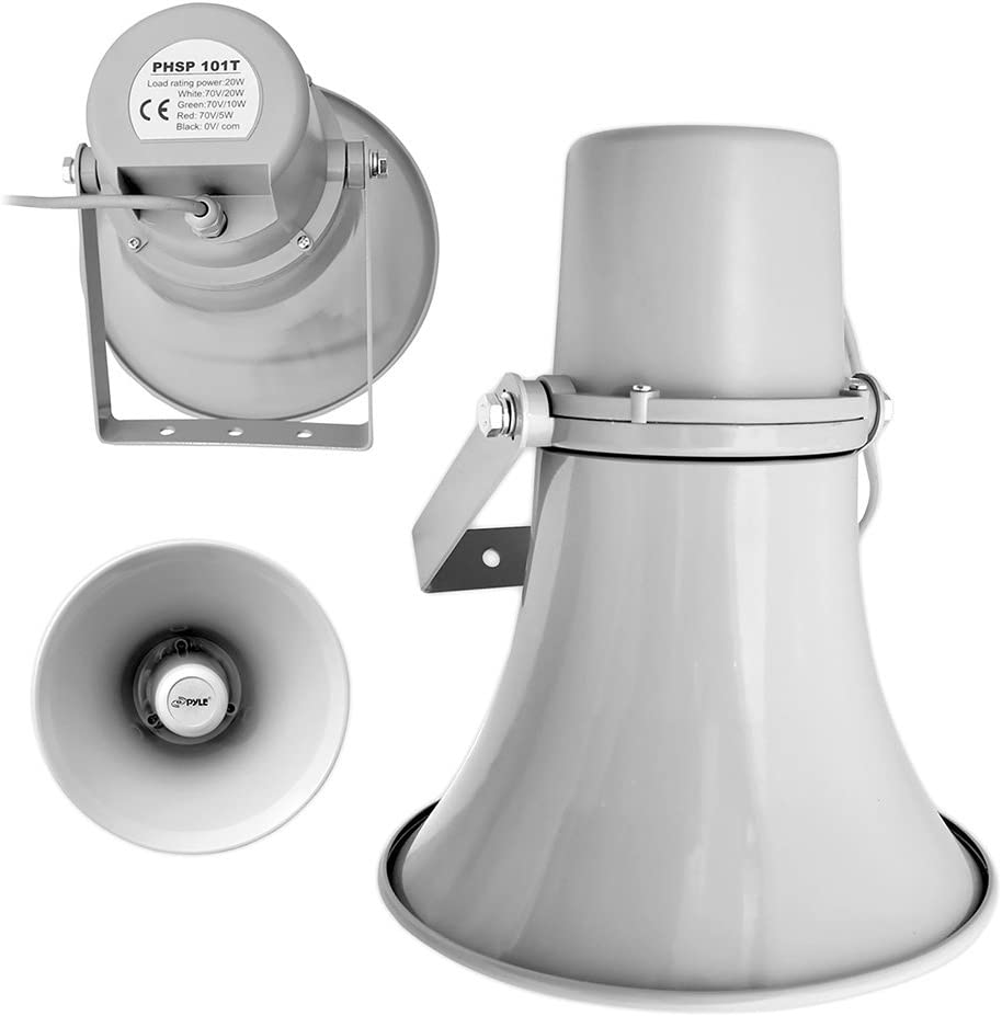 Indoor Outdoor PA Horn Speaker 70V Transformer Mounting Bracket PyleHome PHSP101T Gray 8 Ohm For 70V Audio System 9.7 Inch 20-Watt Power Compact Loud Sound Megaphone w// 400Hz-5KHz Frequency