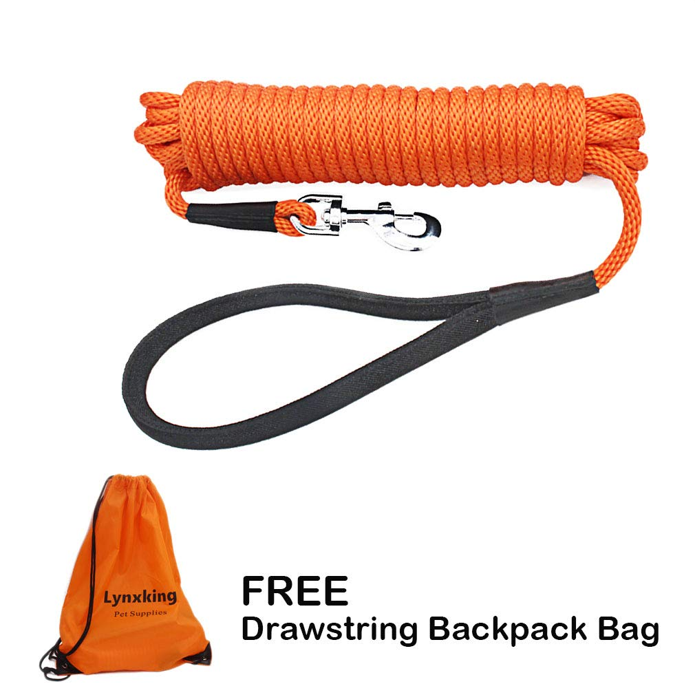 lynxking Check Cord Long Dog Training Leash Tracking Line Heavy Duty Puppy Rope Lead for Small Medium Large Dogs (50 feet x 3/8 in, Orange) by lynxking