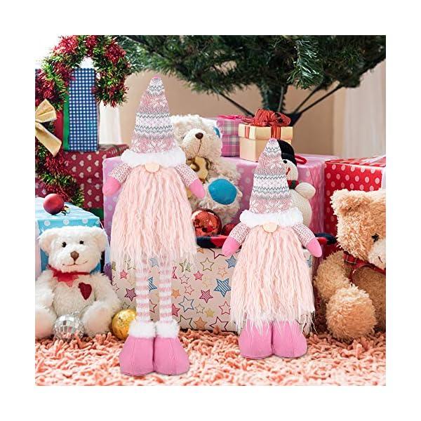 EKKONG Gnomo di Natale Decorazioni Natalizie 57 cm di Altezza, Gnomi Natalizi svedesi Tomte Babbo,Gnomo di Natale Mini Bambola di Stoffa, Regali Nani Scandinavi, Decorazioni Natalizie (Pink) 6 spesavip