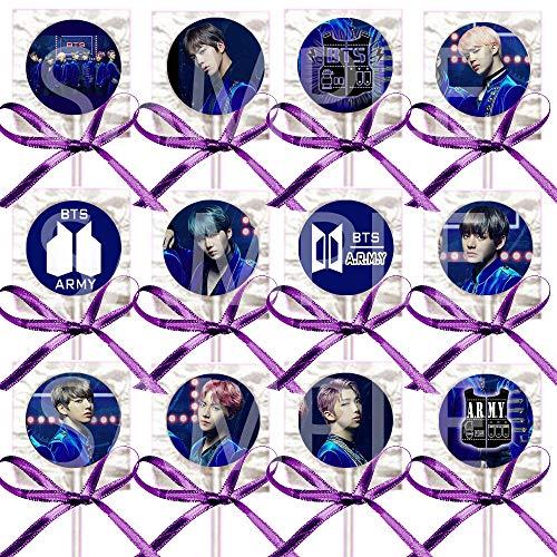 BTS Purple Lollipops Party Favors Supplies Decorations w/K-Pop Bangtan Boys Suckers Purple Ribbon Bows Party Favors (12 pcs) South Korean Boy Band Jin Suga J-Hope RM Jimin V Jungkook