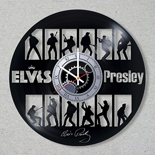 Vinyl Record Wall Clock Elvis Presley Guitar Music Legend The King Rock And Roll decor unique gift ideas for friends him her boys girls World Art Design