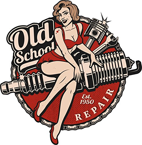 "Old School Vintage Retro Pin Up Girl Repair Shop Icon Vinyl Sticker (4"" Tall)"
