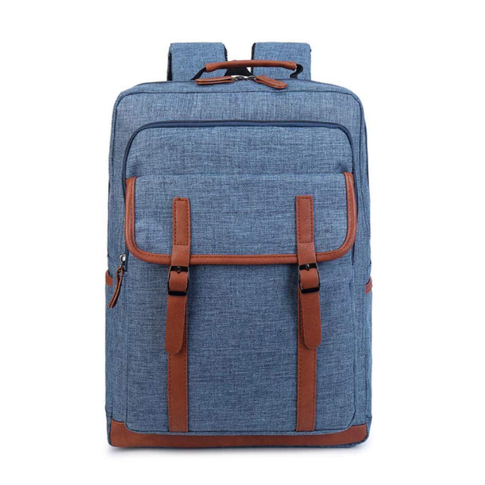 Canvas Uomo School Backpack Schoolbag boys College bag Preppy Style School bags girls Preppy Style donna bookbag Backpack-Navy blu