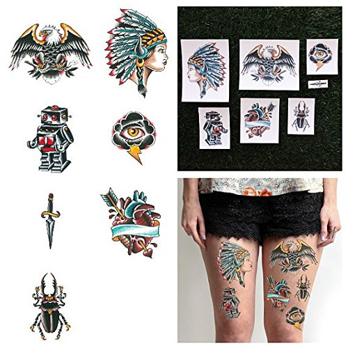 Tattify Colorful Traditional Style Temporary Tattoos - Shades of Grey (Complete Set of 14 Tattoos - 2 of each Style) - Individual Styles Available - Fashionable Temporary Tattoos