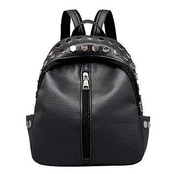 Mochilas pequeñas mujeres remache cremallera PU mochila estudiante de cuero Mochila moda niñas mochila para niños escolares Black: Amazon.es: Equipaje