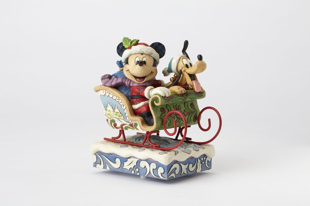 Jim Shore Disney Traditions  Mickey and Pluto Laugh All The Way Musical Figurine