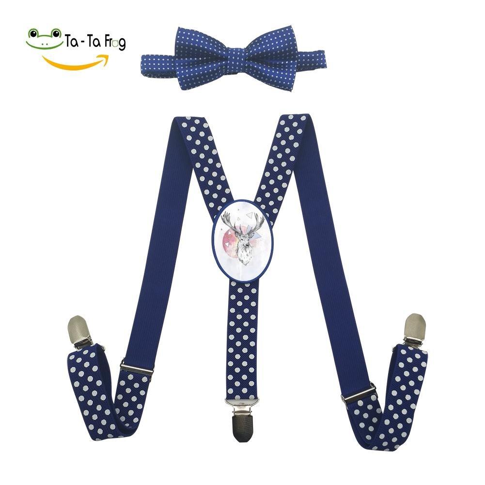 Xiacai Geometric Deer Head Suspender/&Bow Tie Set Adjustable Clip-On Y-Suspender Boys