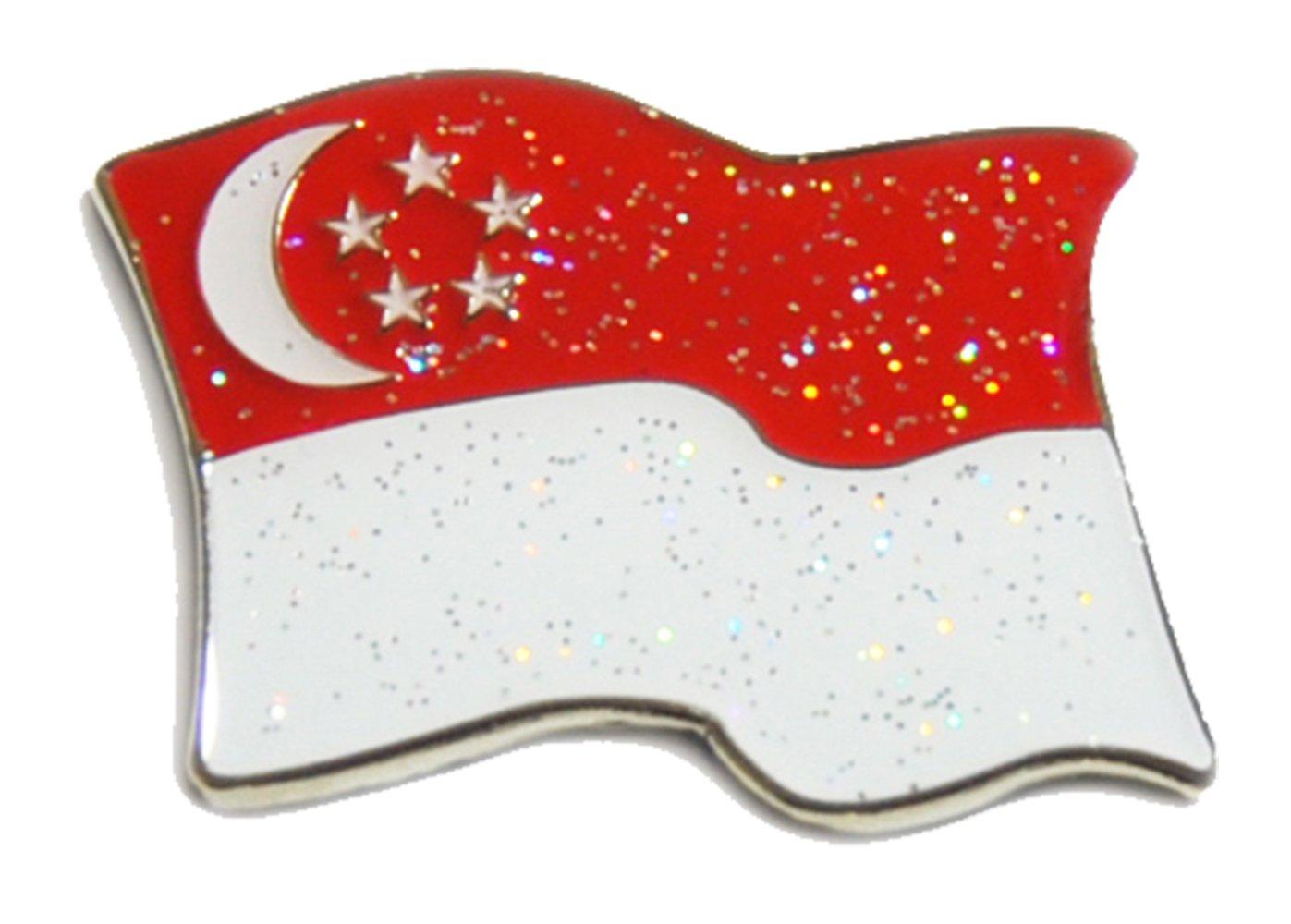 シンガポール国旗キラキラボールマーカーwithデザイン磁気帽子クリップby Navika USA   B079N83HKJ