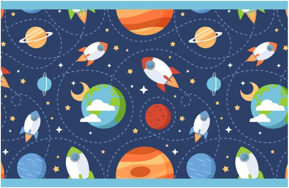 Cenefa Autoadhesivo para ni/ños Espacio Cohetes y Planetas Dormitorio Infantil d