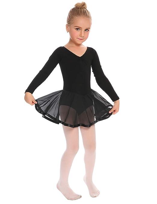6338245c5 Amazon.com  Arshiner Girls Long Sleeve Skirted Leotard Dance Ballet ...