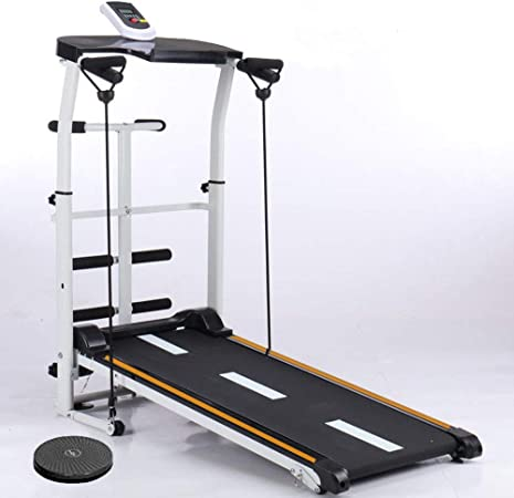 Mechanical Treadmill 4-in-1, with Mechanical Treadmill, Sit-ups Pannel, T-wisting Machine, Draw Rope Mechanical and Massage Wheel LED Display Folded Mechanical Treadmill, with Tablet Stand