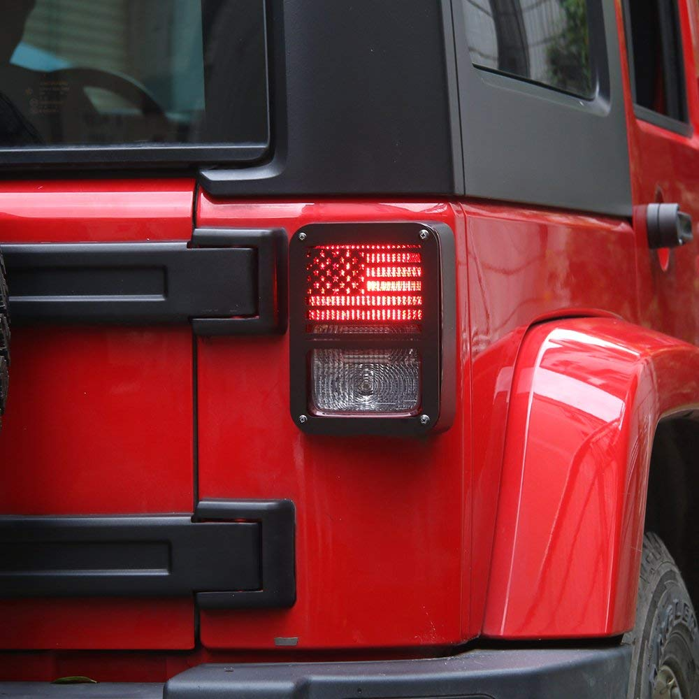 US Flag-1 RT-TCZ Tail Light Guards Covers Brake Light Cover for Rear Taillights 2007-2017 Jeep Wrangler JK Unlimited Accessories