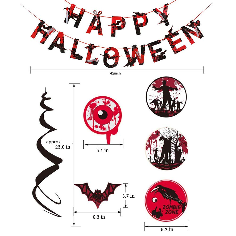 Happy Halloween Banner And Blood Swirl Hanging Jpg 1001x1001 Vampire Eye Cutouts