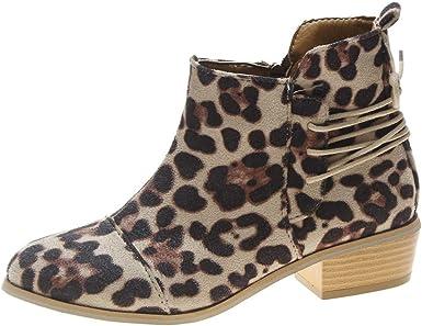 Women Ankle Short Booties Leopard Print