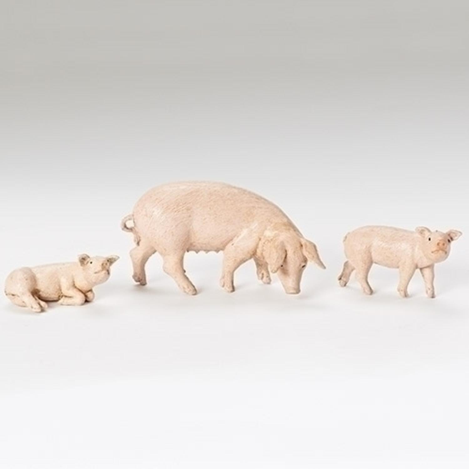 Roman Set of 3 Fontanini 5'' Family of Pigs Christmas Nativity Figures #54081