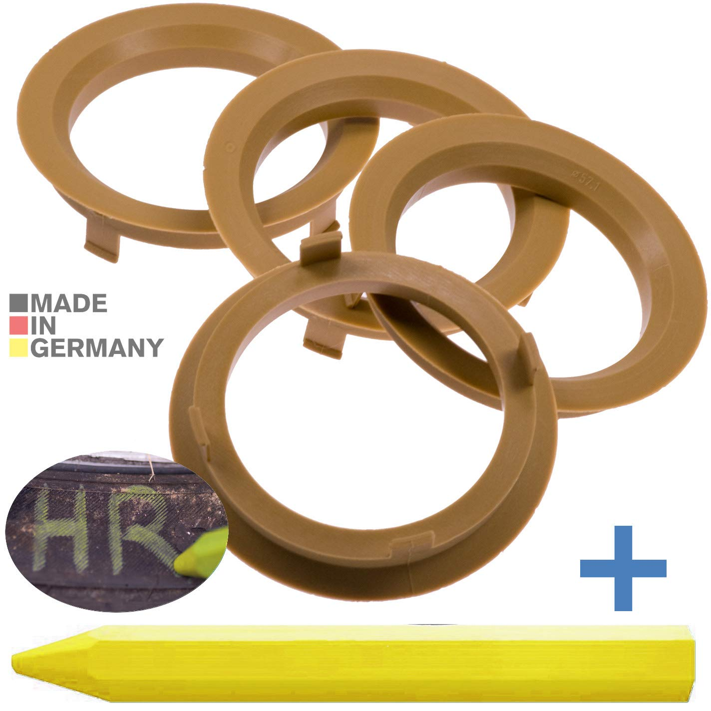 Anelli di centraggio 4x 70,1 x 57,1 mm MARRONE CHIARO CERCHI ANELLI MADE IN GERMANY