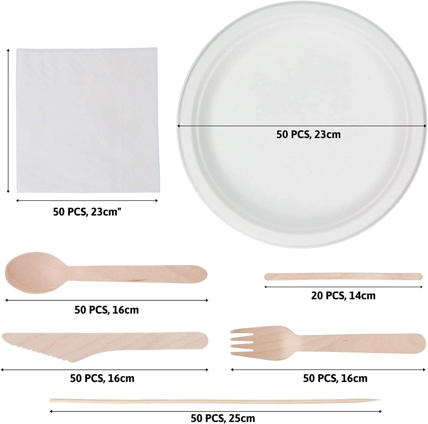 320 Set Disposable Tableware Bundle.ECO Friendly Biodegradable DINNERWARE Cutlery Set and Plate Set Wooden Microwave Safe Strong Heavy Duty Home Party Picnic Commercial USE