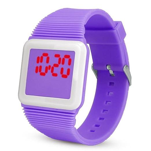 QinMM Deporte Muñeca Relojes Digitales LED Tecnología para Niños Niñas pulsera (Morado)