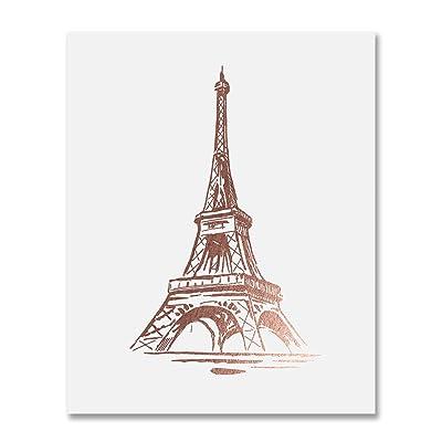 Eiffel Tower Rose Gold Foil Print Wall Art Home Decor France Paris Fashion Poster Metallic 8 inches x 10 inches B19