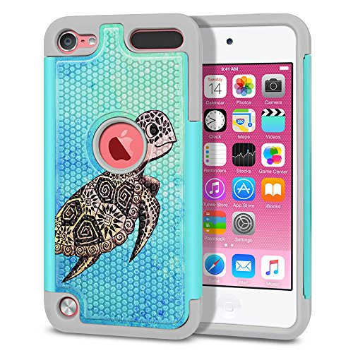 Apple iPod Touch 5 (5th Generation) iPod Touch 6 (6th Generation) Case, Fincibo (TM) Dual Layer Football Skin Hybrid Hard Protector Cover TPU Soft Silicone Shock Absorbent, Cute Turtle (Style 1)