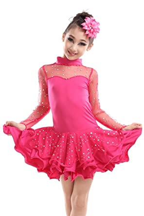 618cb111027d XFentech Sequined Latin Tango Ballroom Kids Girls Dance Dress Skirt Latin  Costume: Amazon.co.uk: Clothing