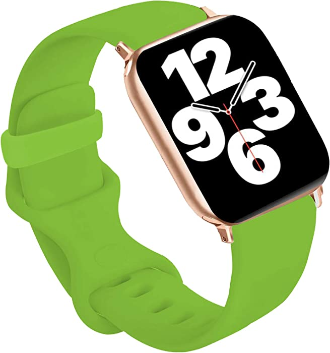 Idon Sport Watch Band, Soft Silicone Replacement Sports Bands Compatible with Watch Series SE/Series6/5/4/3/2/1 38MM 40MM for Watch All Models (Green,38MM S/M)